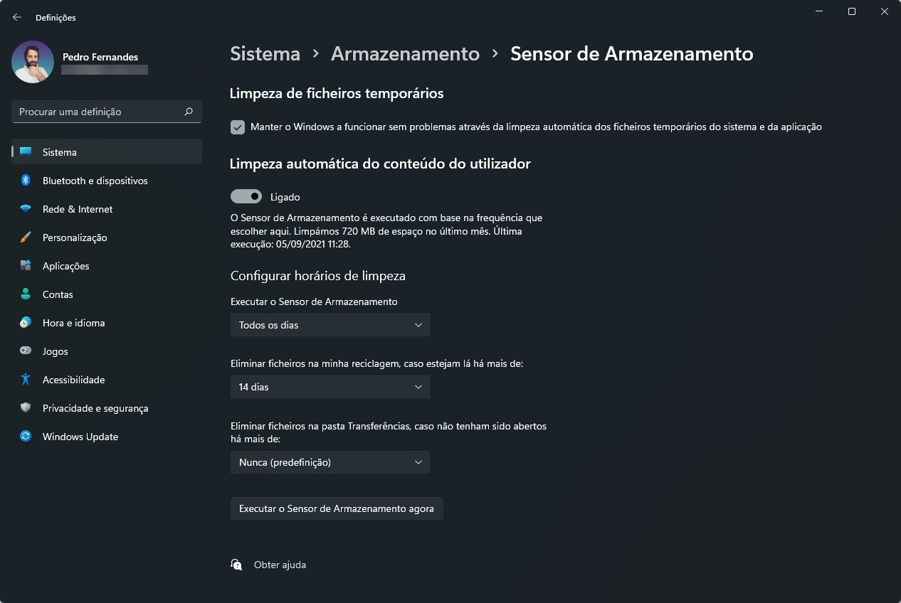 Sensor de armazenamento do Windows 11