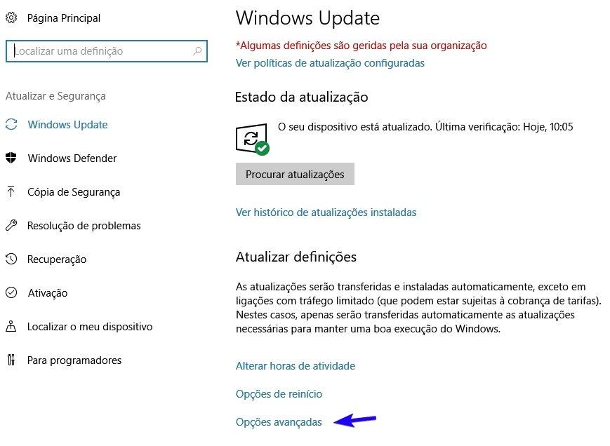 windows update atualização definições