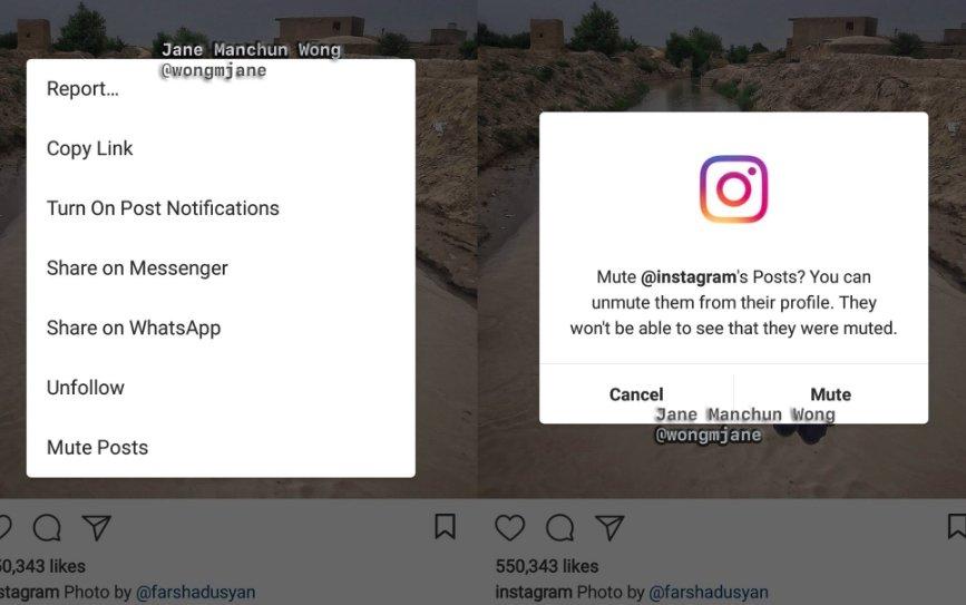 silenciar utilizador instagram