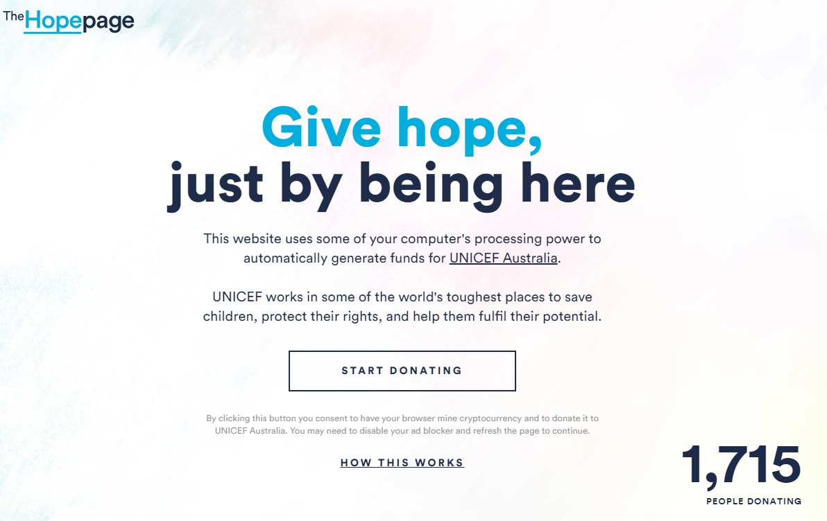 unicef the hope page