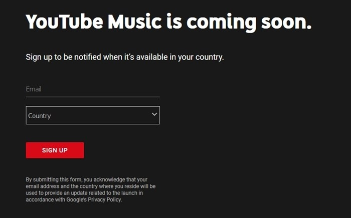 youtube music pagina de registo