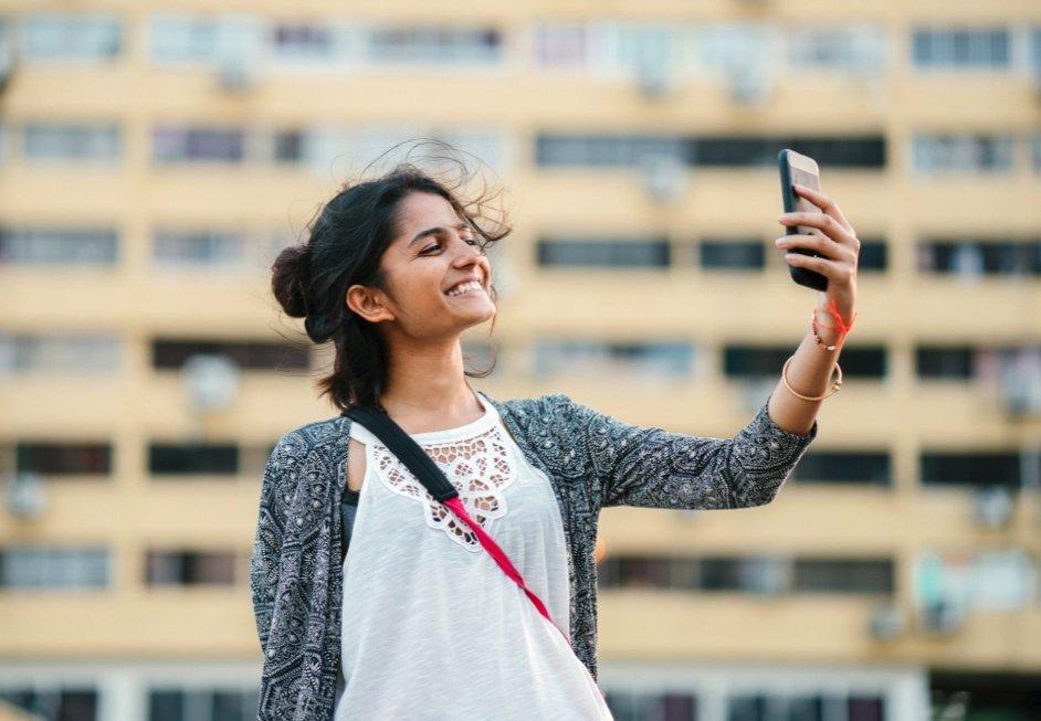 Foto smartphone selfie