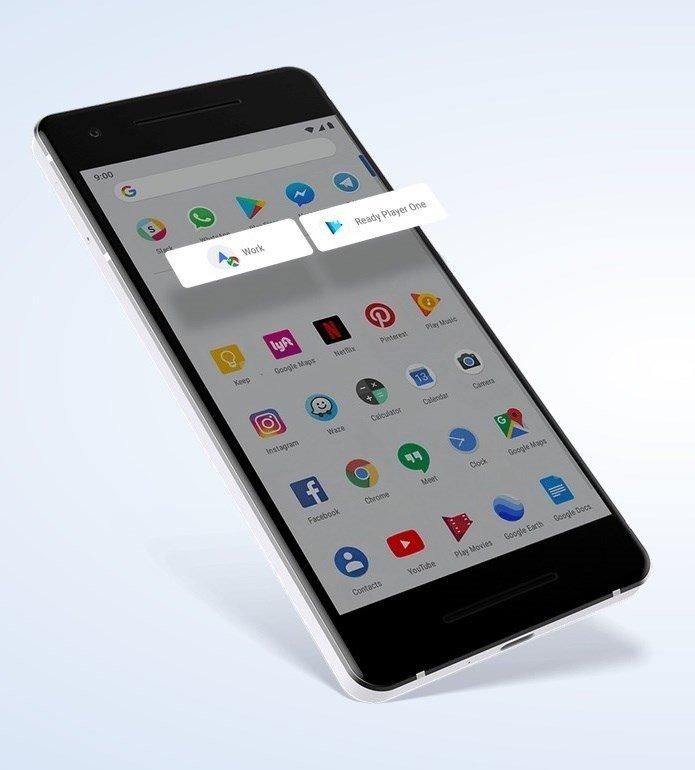 exemplo de ações em apps android pie