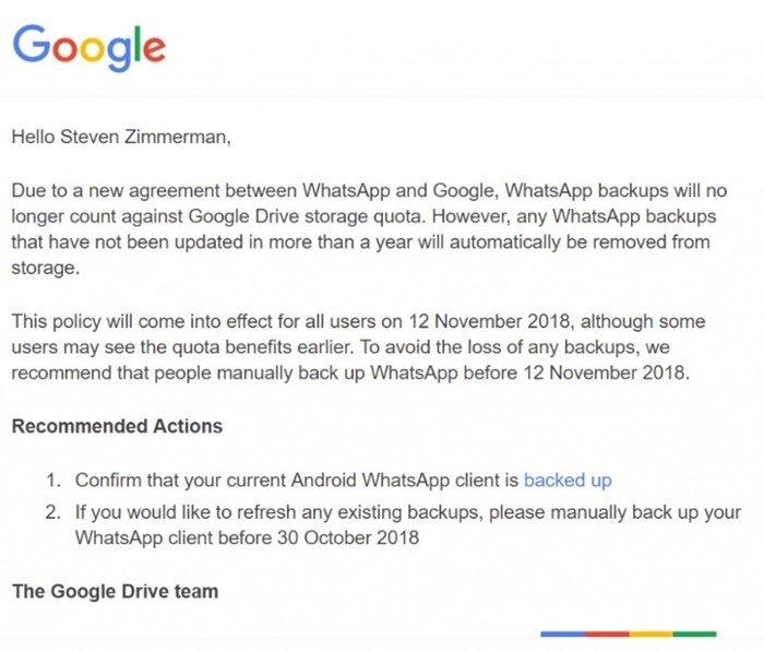 mensagem de email da google drive