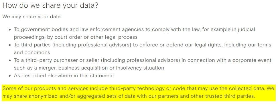 política privacidade opera