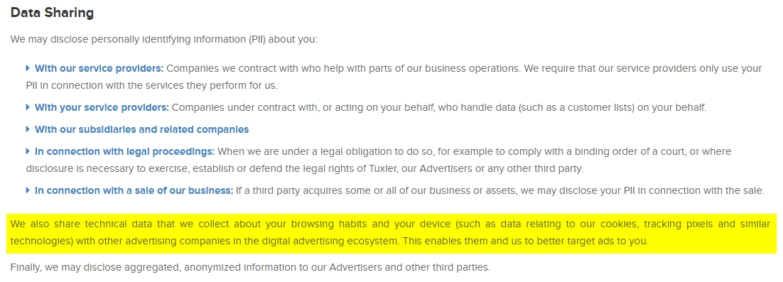 política de privacidade tuxler