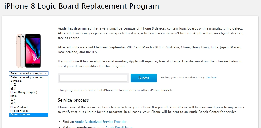 site apple recolha iphone 8