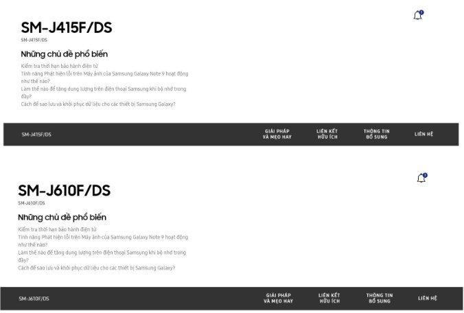 paginas dos dispositivos samsung