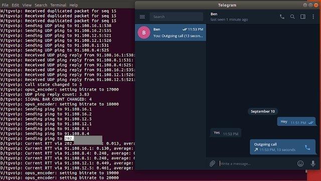exemplo consola dados ip telegram