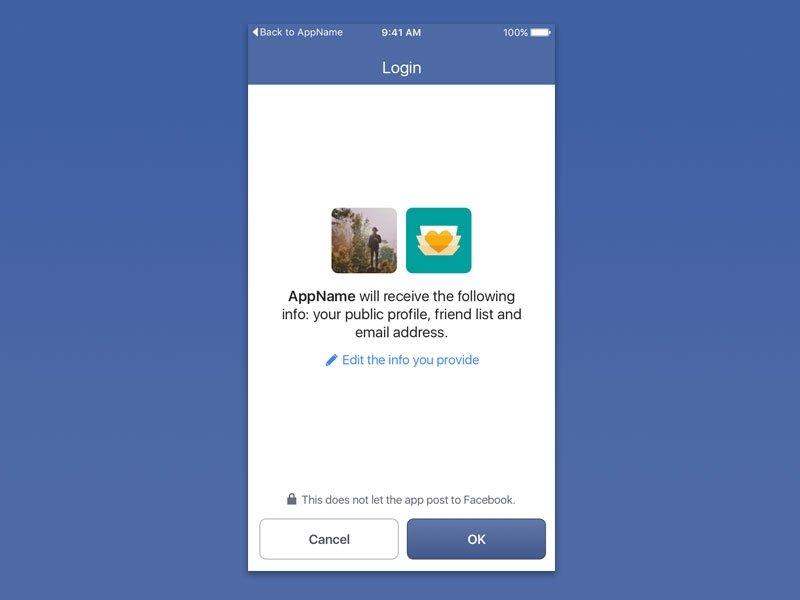 facebook permissões app