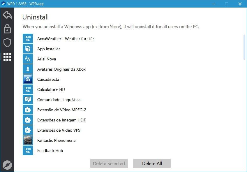 remover aplicações nativas windows 10