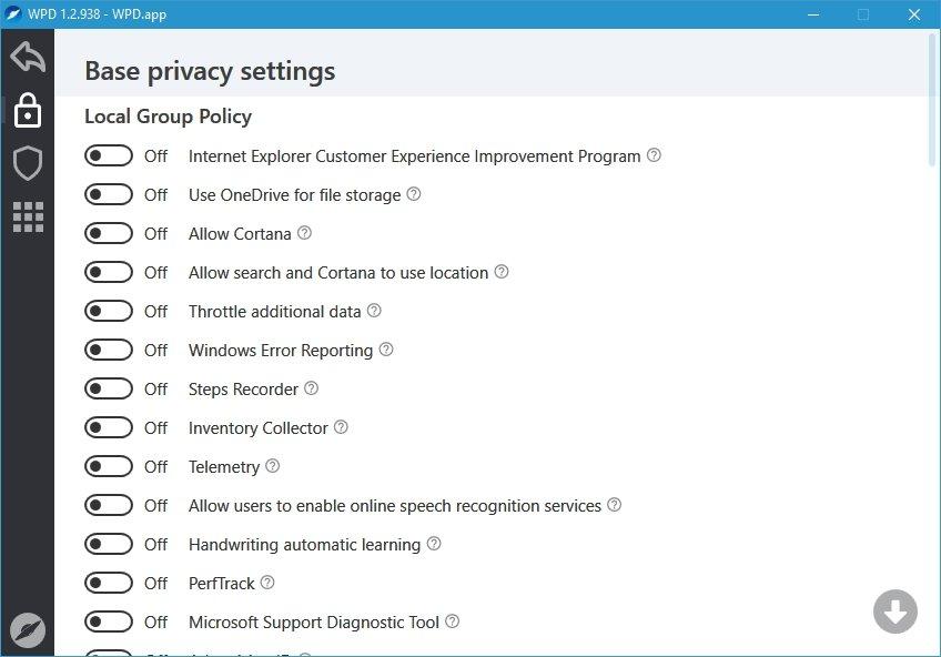 gestão das definições de privacidade