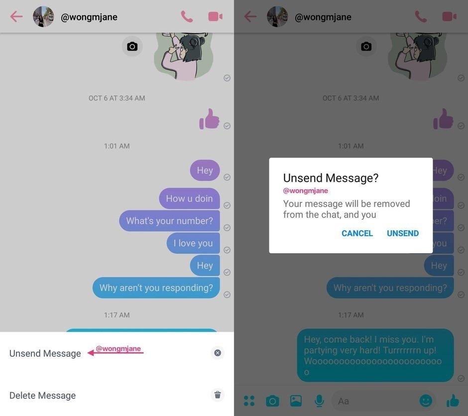 messenger cancelar envio