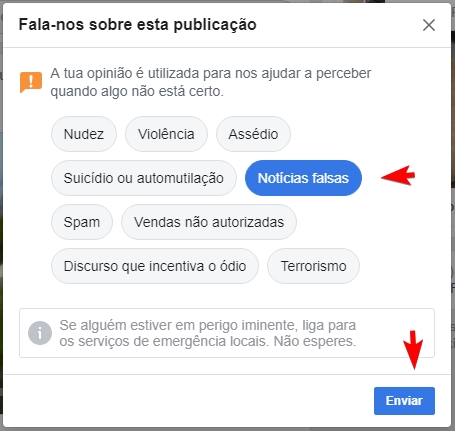 reportar facebook falsa noticia