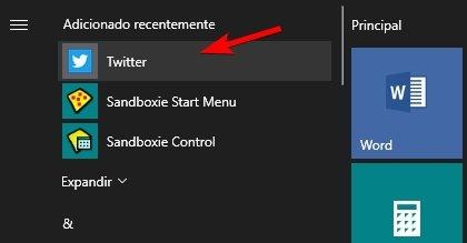 iniciar menu twitter