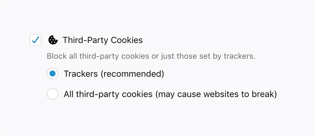 bloqueio tracking cookies firefox