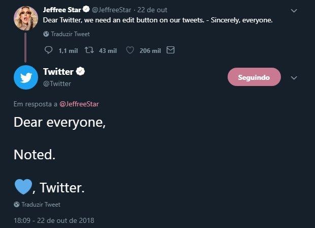 twitter editar mensagens