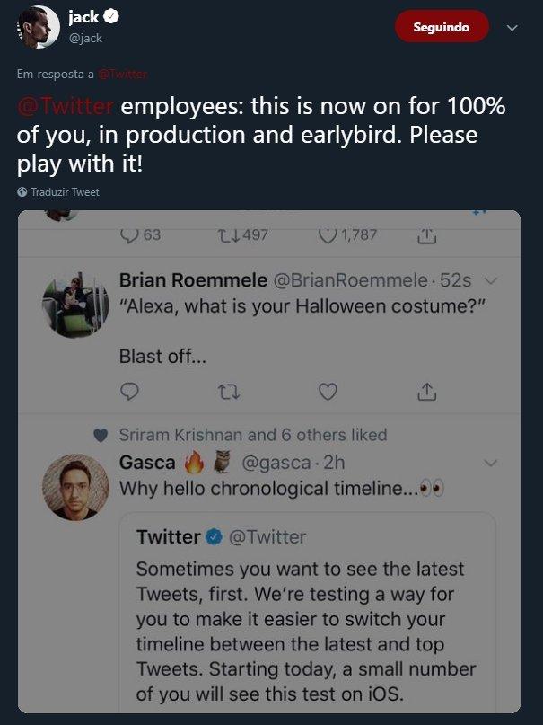 resposta ceo twitter timeline ordenação mais recente