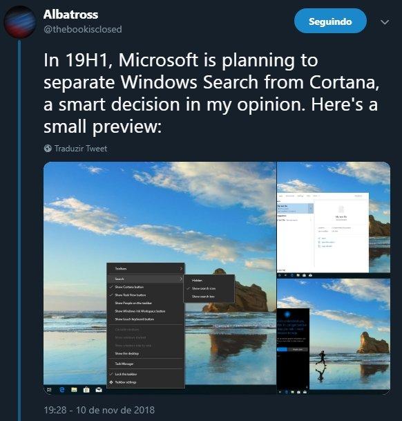 tweet imagens nova atualização windows