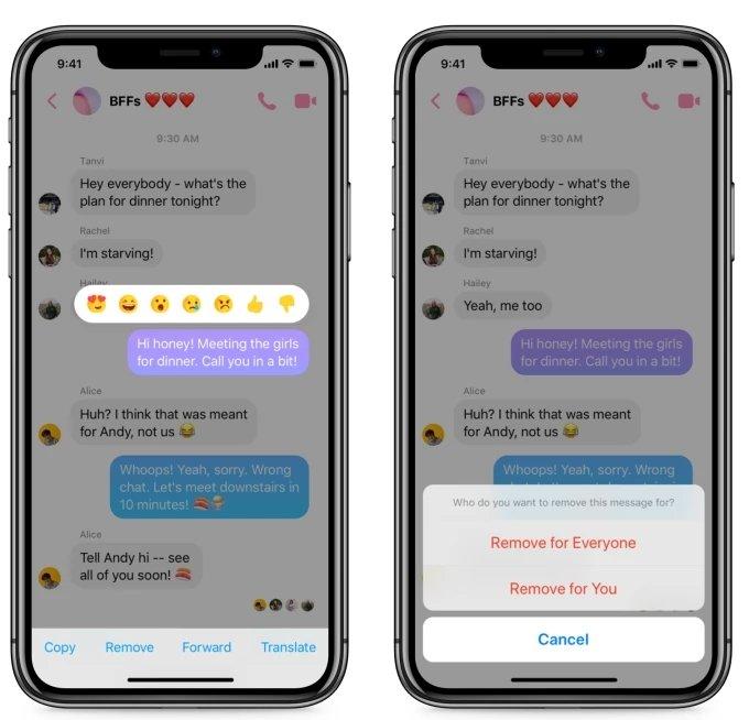 botao remover mensagens messenger
