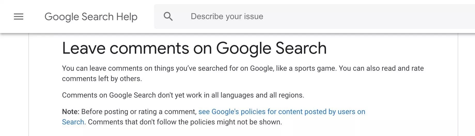 google ajuda suporte comentários