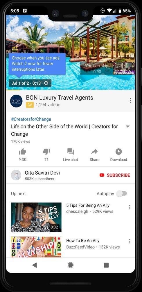 dois anúncios no início youtube