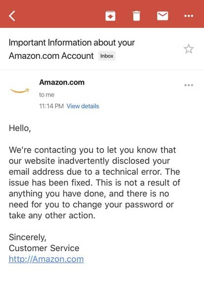 amazon email falha website