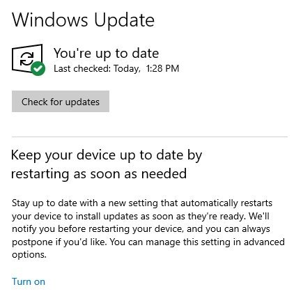 reinicio imediato windows update