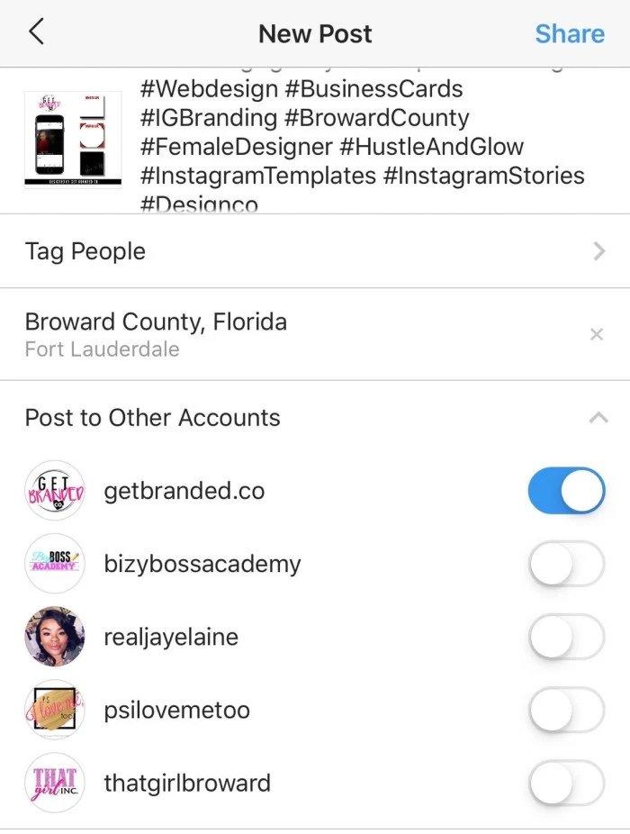 instagram múltiplas contas partilha