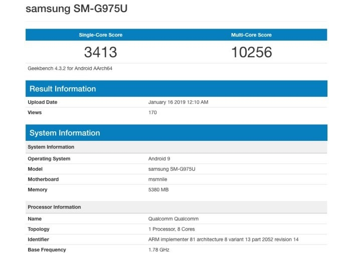 samsung galaxy s10+ teste benchmark