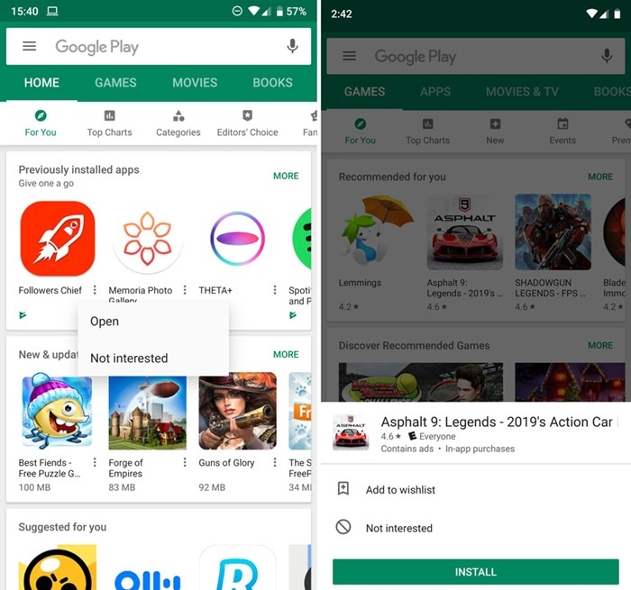 play store android menu popup