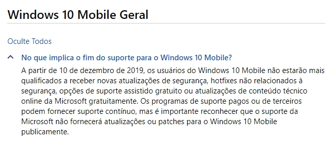 informação windows 10 mobile descontinuação