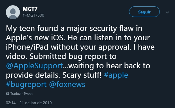 tweet utilziador apple suporte facetime