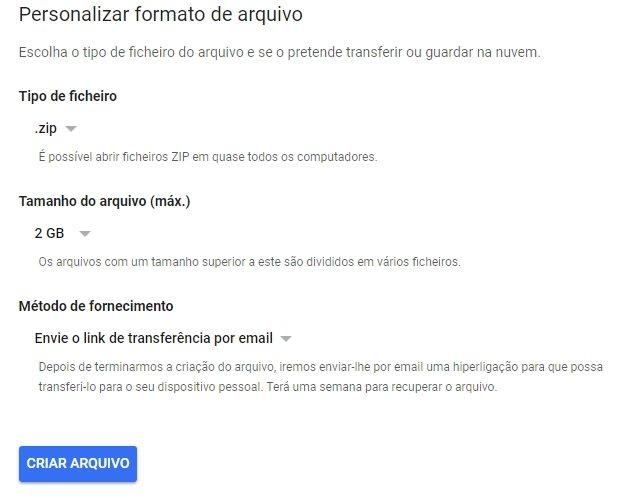 formato ficheiro google takeout