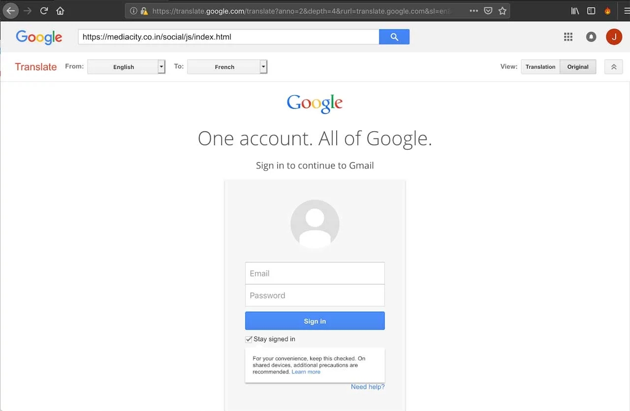página login falsa google