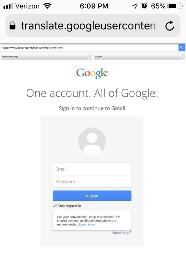 página falsa login google movel