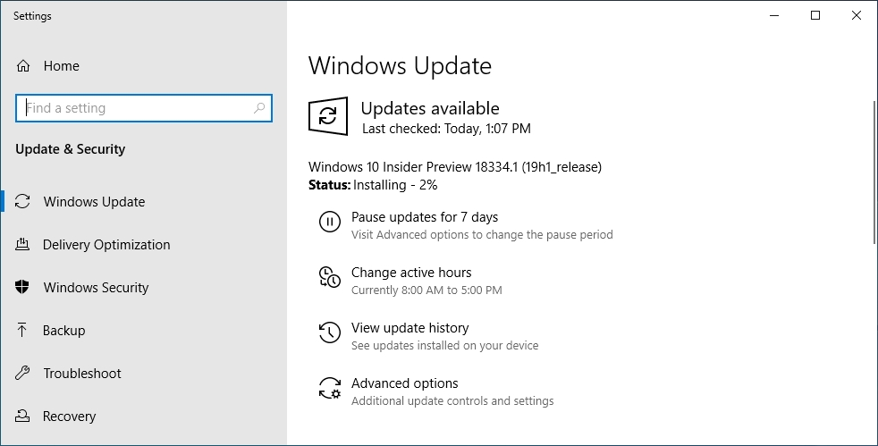 windows update 10 insider