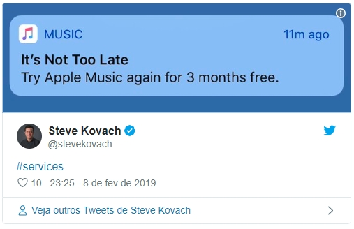 apple music notificação