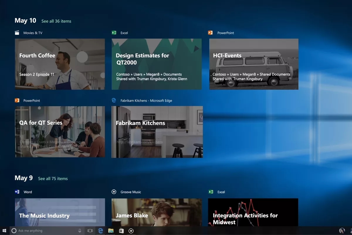 timeline windows 10