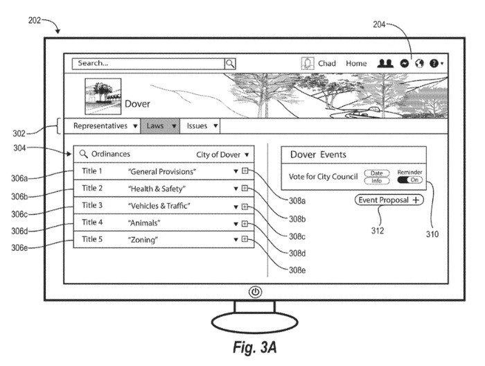 imagem da patente do facebook sobre secção poltiica