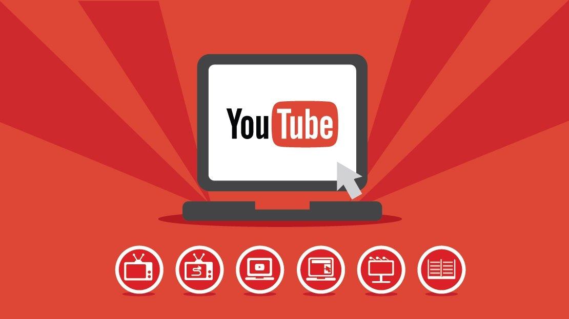 Logo do youtube num computador fixo sobre Ícones de temas