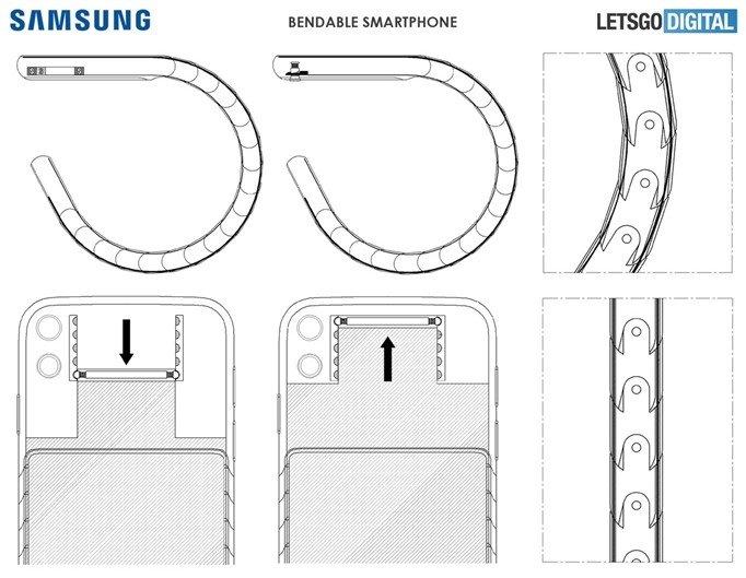 imagem da patente da samsung sobre smartphone dobrável