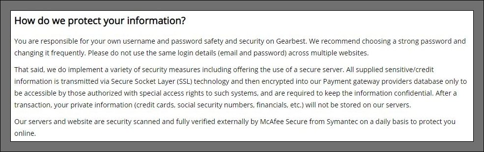 detalhes da encriptação de dados na política de privacidade