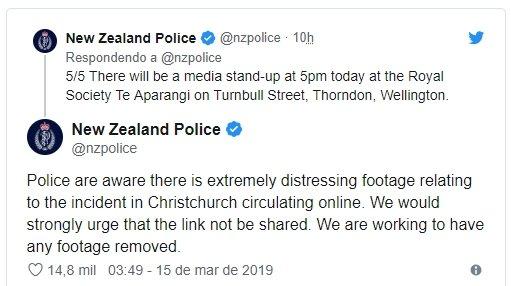 tweet das autoridades a pedir para não ser partilhado o video