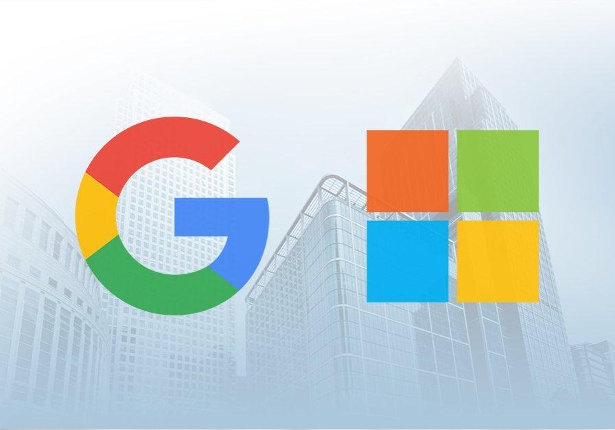 Microsoft e Google logos