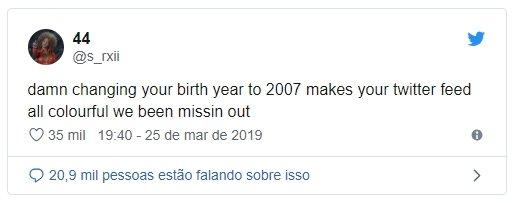 piada no twitter para alterar data de nascimento