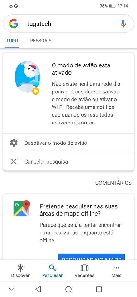 pesquisa da Google em modo offline