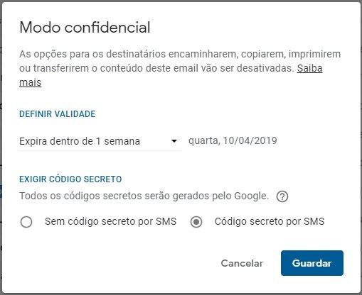 configurações modo confidencial do Gmail