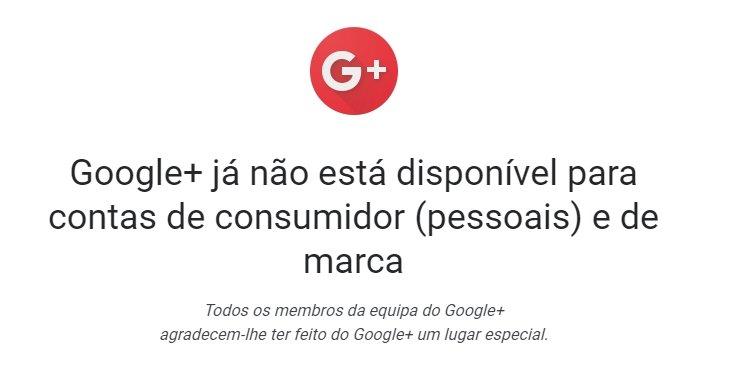 mensagem do Google plus sobre encerramento