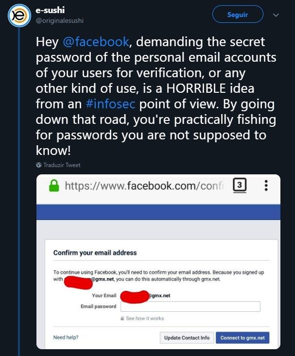 validação de email no facebook
